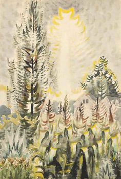 """Drought, Sun and Corn"" watercolor and charcoal on paper, Charles Burchfield: Landscapes - Exhibitions - DC Moore Gallery Abstract Landscape, Landscape Paintings, Landscapes, Ex Machina, Outsider Art, Western Art, Tree Art, Watercolor Paintings, Watercolors"