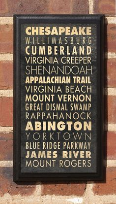 Virginia Destinations Vintage Style Wall Plaque. $27.00, via Etsy.
