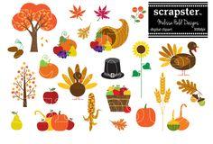 Thanksgiving Clipart by scrapster on @creativemarket https://crmrkt.com/Bkxgq