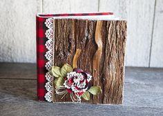 Album photos rustique en bois dentelle & tissu carrelé rouge