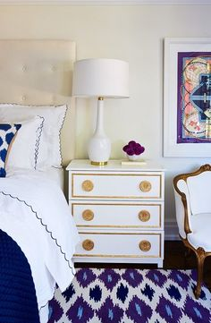 Interior Design Bedroom By Style At Home Ikea Hack Gilt Gold And White Bedside Dresser Table White Table Lamp Blue White Linen Louis Arm Chair