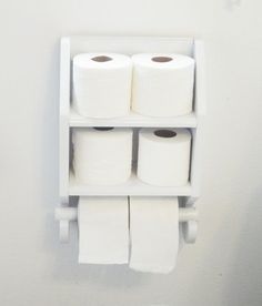 Bathroom Tissue Holder with Shelves-Wooden-White by DREAMATHEME