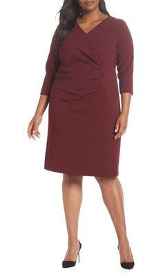 b53ef0a35e Tahari Ruched Surplice Crepe Sheath Dress