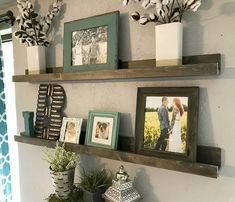 Handcrafted, wall mounted, ledge shelf. This shelf is assembled with wood. The wood on it has been sanded until smooth and finished in Vintage Ash. It can also stained or left natural. These shelves will add the perfect rustic farmhouse feel to any room in your house! The shelves shown