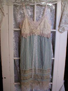 Upcycled Parisian blue vintage lace slip