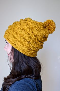 Cable Knit Slouchy Beanie The ASPEN Beanie Textured by Songbyrdy