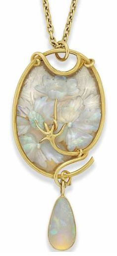 Lalique. glass and opal pendant