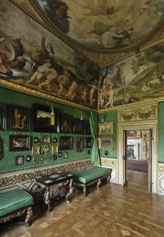"""The Green Closet"" at Ham House, Richmond-upon-Thames, London."