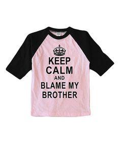Pink 'Blame My Brother' Raglan Tee - Toddler & Girls