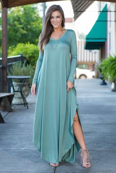 """Long Sleeve Maxi Dress - Olive""You may think you have nothing but time but when it comes to getting your hand on this beauty, time is of the essence! This olive green maxi dress can be styled in so many different ways!  #newarrivals #shopthemint"