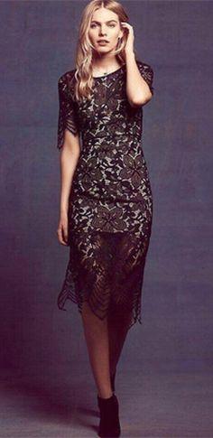 d1c8c3e208 Divine Devotion Black Scallop Lace Short Sleeve Scoop Neck Cut Out Back  Side Slit Midi Dress