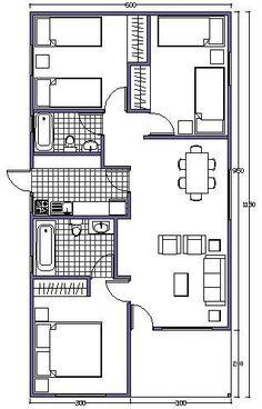 L shaped 50 sqm granny flat plan Model House Plan, Small House Plans, House Floor Plans, Small Tiny House, Small House Design, Home Design Plans, Plan Design, House Construction Plan, Casas Containers