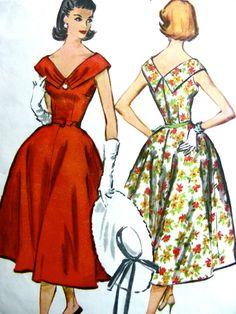ONBESNEDEN jaren 1950 Vintage McCalls patroon 4433 - BEAUTIFUL Full Skirt Cocktail Party Off Shoulder jurk met V-hals / / Size 16 buste 36