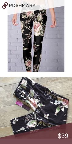 Black and Beige Floral Leggings Stay comfy while making a bold style statement in these soft stretchy Floral Leggings , vibrant floral print. Brushed polyester/spandex Pants Leggings