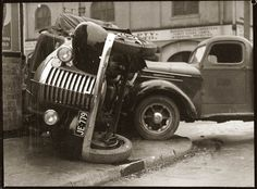 Detail of scene of accident involving two trucks, corner of Balfour and Meagher Streets, Chippendale, early 1940s.