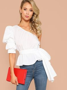 SHEIN Sexy White One Shoulder Puff Sleeve Peplum Knot Belted Top Blouse Women Summer 2019 Solid - for a night outfit? Blouse Peplum, Tie Blouse, Sexy Blouse, Ruffle Blouse, Look Fashion, Fashion Outfits, Fashion Mode, Petite Fashion, Dress Fashion