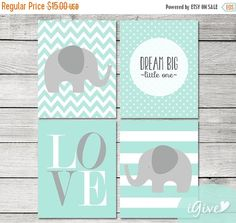 Spring Sale Mint and Grey  Nursery Elephant Print 4 pieces -ELT12- Boy Nursery / You Are My Sunshine / Instant Download / Elephant Printable