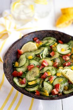 Fresh, easy, and healthy lemon cucumber salad with tomato