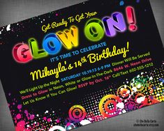 Glow Neon Black Light Party Customized Printable by CheBellaCarta, $13.95