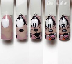 Cartoon Nail Designs, Nail Art Designs, Disney Acrylic Nails, Fingernails Painted, Nail Drawing, Nail Art For Kids, Nail Polish Crafts, Nail Art Techniques, Dot Nail Art