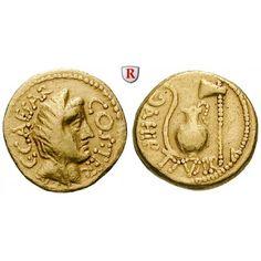 Römische Republik, Caius Iulius Caesar, Aureus 46 v.Chr., ss: Caius Iulius Caesar 100-44 v.Chr. Aureus 19 mm 46 v.Chr. Rom.… #coins