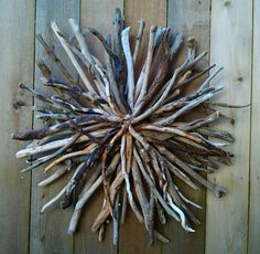Driftwood Sunburst Sculpture Wall Art Home by BurlgirlCreations, $125.00