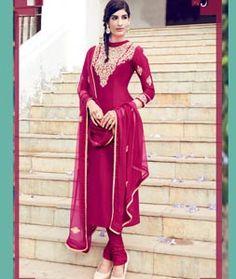 Buy Magenta Cotton Satin Churidar Suit 71210 online at lowest price from huge collection of salwar kameez at Indianclothstore.com.