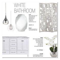 """White bathroom!"" by helenevlacho ❤ liked on Polyvore featuring interior, interiors, interior design, home, home decor, interior decorating, Possini Euro Design, bathroom, Home and design"