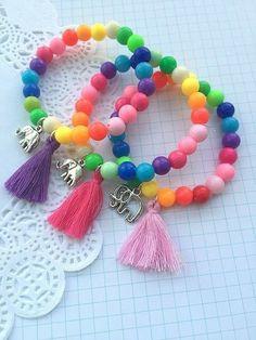 Tassel Bracelet, Tassel Jewelry, Crystal Jewelry, Beaded Jewelry, Beaded Bracelets, Paracord Bracelets, Silver Jewelry, Little Girl Jewelry, Kids Jewelry