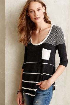 Bordeaux Stripe-Range Pullover #anthrofave #anthropologie