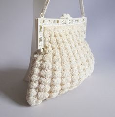 #vintage #crochet handbag with celluloid frame, $42 from Raleigh Vintage.