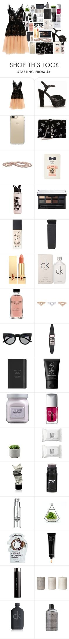 """plla"" by dzchocolatess ❤ liked on Polyvore featuring True Decadence, Nly Shoes, Speck, Yves Saint Laurent, Kate Spade, NARS Cosmetics, Calvin Klein, Bobbi Brown Cosmetics, Retrò and Maybelline"