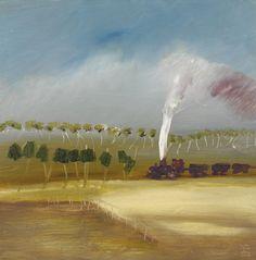 Sidney Nolan (Australian, Landscape, Oil on composition board, 91 x 91 cm. Australian Painting, Australian Artists, Sidney Nolan, Urban Poetry, Indigenous Art, Contemporary Paintings, Art Reference, Abstract, Sydney