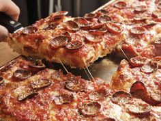 Sicilian Pizza With Pepperoni and Spicy Tomato Sauce Recipe
