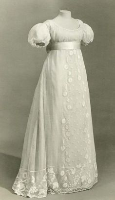 Dress   c. 1810   British.  So Jane Austin -  right out of one of her novels.