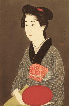 """Onao with Tray"".  Ukiyo-e woodblock print, 1920, Japan, by artist Hashiguchi Goyo"