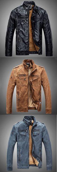 Men Coats And Jackets: Mens Genuine Lambskin Leather Jacket Blue Slim Fit Biker Motorcycle Jacket BUY IT NOW ONLY: $34.19