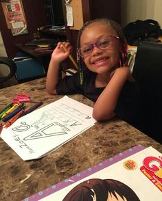 My baby her first homework assignment