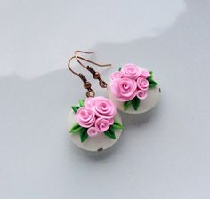 Items similar to Pink rose earrings, lentil bead earrings, polymer clay earrings, rose bead earrings, wedding earrings on Etsy Polymer Clay Projects, Polymer Clay Art, Diy Clay, Polymer Clay Earrings, Rose Earrings, Wedding Earrings, Bead Earrings, Polymer Clay Embroidery, Pinterest Crafts