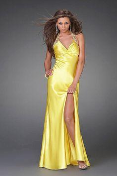 Etui Nackenträger natürliche Taille Gelb seidenartiger Satin modernes bodenlanges Abendkleid