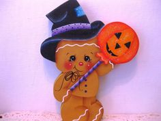 HP Gingerbread Halloween ginger with pumpkin candy Shelf Sitter hand painted USA (ebay countreecorner US only)