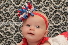 Baby Girls 4th of July Patriotic Red and Blue Polka Dot Korker Red Lace Headband Baby Headbands Girls Headband Korkers Hair Bows Hairbow by BabyGirlTutus on Etsy
