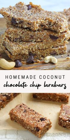 These homemade Larabars require only five ingredients and take only minutes to make. You'll love the Coconut Chocolate Chip flavor! This is the BEST healthy and gluten-free snack that's so easy to mak Healthy Sweets, Healthy Breakfast Recipes, Healthy Baking, Healthy Gluten Free Snacks, Healthy Chocolate Snacks, Healthy Protein Bars, Healthy Homemade Snacks, Healthy Breakfast On The Go, Healthy Granola Bars