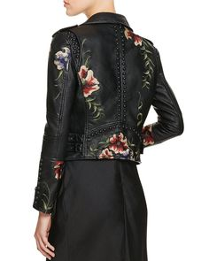 BLANKNYC Studded Embroidered Faux Leather Motorcycle Jacket - 100%…