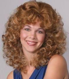 80's Womens Medium Shoulder Length Wavy Curls Curly Skin Top Wig W/