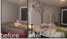 tree mural wall- this is almost exactly what i've been planning to do in our bedroom!