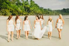 Costa Rica Wedding Ideas - Photo Ideas - Brides Maids on Manuel Antono Beach Costa Rica - Photography: Clane Gessel Photography