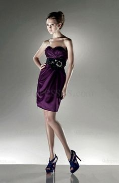 Modest Strapless Draped Elastic Woven Satin Column Zip up Cocktail Dress