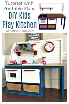 Kids Play Kitchen DIY Woodworking Plan - Abbotts At Home Yay! This Kids Play Kitchen DIY Woodworking Plan is an easy woodworking build with lots of fun additions that little kids will love! Woodworking For Kids, Easy Woodworking Projects, Woodworking Furniture, Furniture Plans, Woodworking Shop, Diy Furniture, Woodworking Plans, Wood Projects, Woodworking Equipment