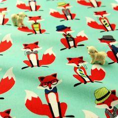 Zoo - blue aqua & red smart foxes cotton fabric